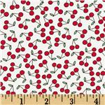 208395 Timeless Treasures Mini Cherries White