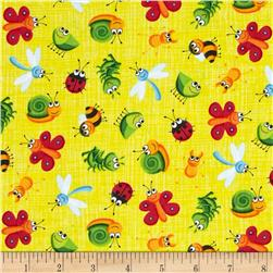 Timeless Treasures Happy Bugs Bugs on Sketch Yellow