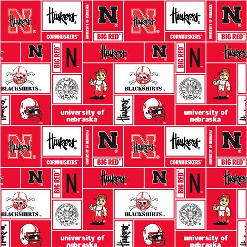 Collegiate Fleece University of Nebraska Blocks
