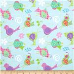 0301559 Tossed Birds Flannel Blue/Multi
