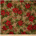 Christmas Peace Metallic Poinsettia Gold