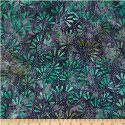 Batavian Batiks Pressed Flowers Purple/Green