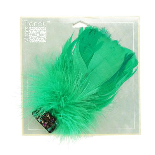 Disco Feather Brooch 2-1/2&#39;&#39; x 5&#39;&#39; Green