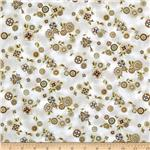 Esmeralda Metallic Small Floral Linen Natural