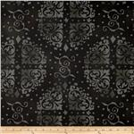 "0294086 108"" Wide Quilt Backing Medallion Tonal Black"
