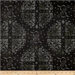 "108"" Wide Quilt Backing Medallion Tonal Black"