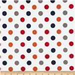 0268147 Riley Blake Flannel Basics Dots Medium Boy Orange/Blue