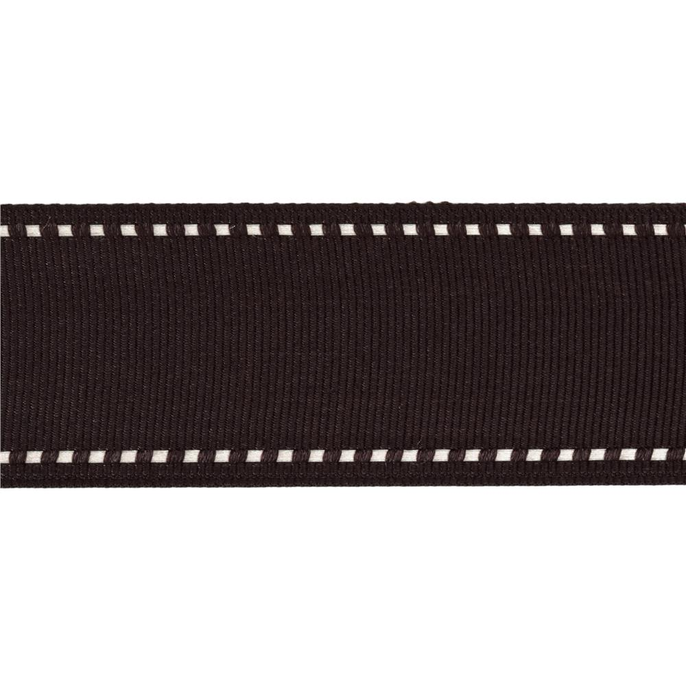 1 1/2'' Grosgrain Ribbon Saddle Stitch Brown/Ivory