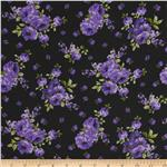 0277481 Rayon Challis Flower Blooms Purple/Black