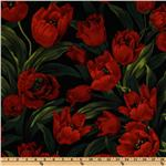 DL-378 Michael Miller Rouge et Noir Ruby Tulips Red
