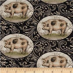 Farm Chic Pigs in Ovals Black/Cream
