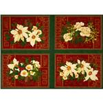 0273209 Holiday Finery Floral Placement Panel Green/Multi