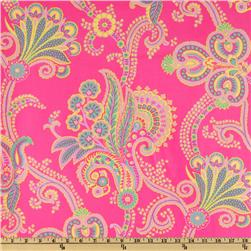 Poodle Laminated Cotton Tanya  Pink/Yellow