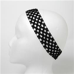 "1 3/4""  Stretch Crochet Headband  Black"