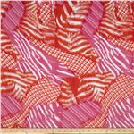 0269276 Crepe de Chine Diagonal Plaid Pink/Orange/White