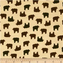 Timeless Treasures Cabin Flannel Bears Cream