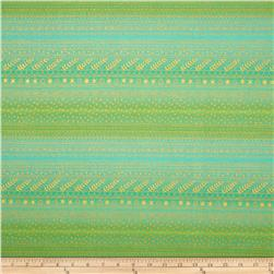 Christmas Time Filigree Stripe Metallic Green