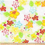 Printed Cotton Jersey Tropical Flowers White/Green/Pink