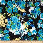 Madeline Shirting Rose Floral Blue/Black