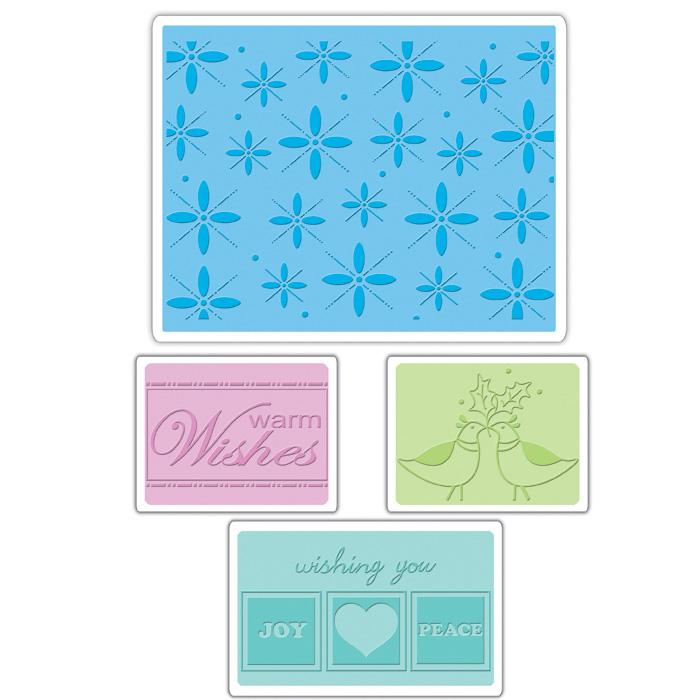 Sizzix Textured Impressions Embossing Folders 4 Pack-Winter Set #2