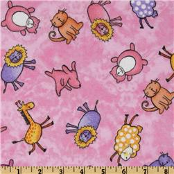 Comfy Flannel Whimsical Animals Pink