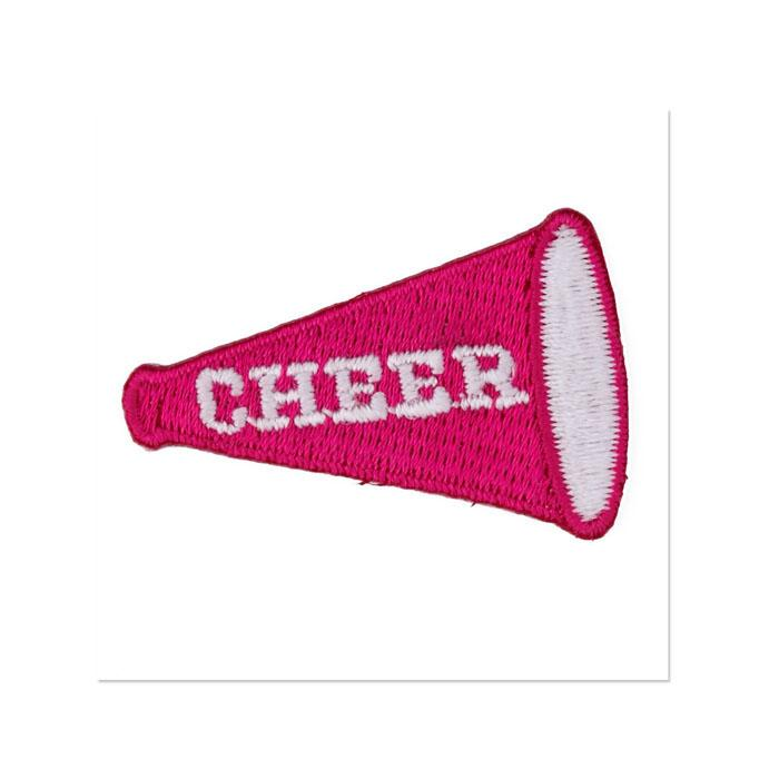 Boutique Applique Cheer Megaphone Pink/White