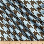 0264909 Satin Charmeuse Houndstooth Light Blue/Mocha