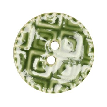 Ceramic Button 1 1/4'' Textures Green