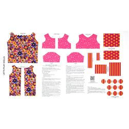 Lets Play Dolls Bold & Bright Floral Dress Panel Pink