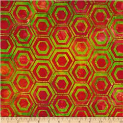Indonesian Batiks Pop Art Hexagon Stripe Lime