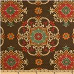 Waverly Sun N Shade Quilted Garden Crest Chocolate