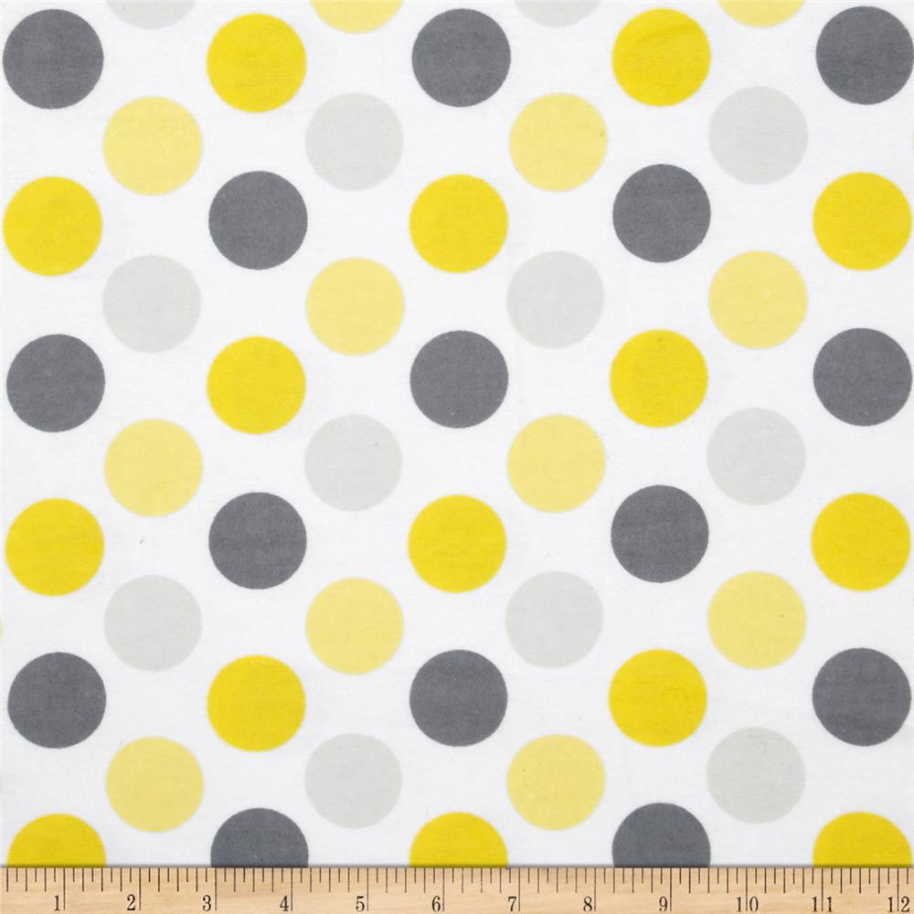 Flannel Polka Dot White/Grey/Yellow
