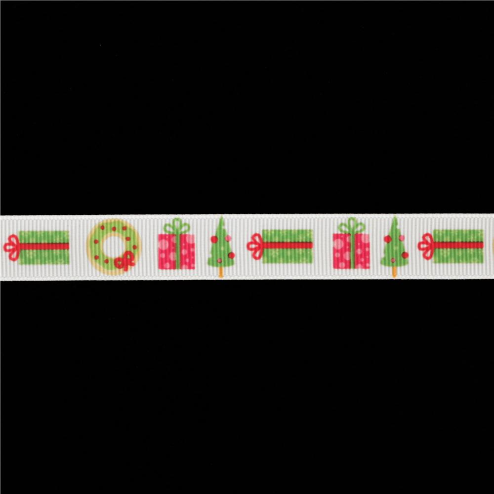 "Riley Blake 5/8"" Grosgrain Ribbon Christmas White/Multi"