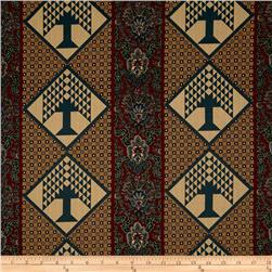 Pine Tree Lodge Repeating Stripe Paisley Trees Maroon