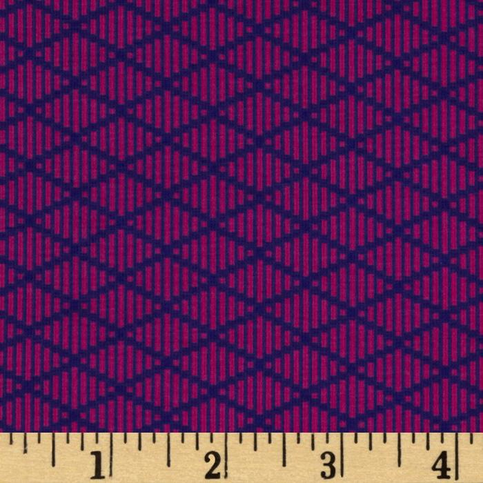 Michael Miller Heaven and Helsinki Stretch Jersey Knit Nordic Diamond  Pink/Purple