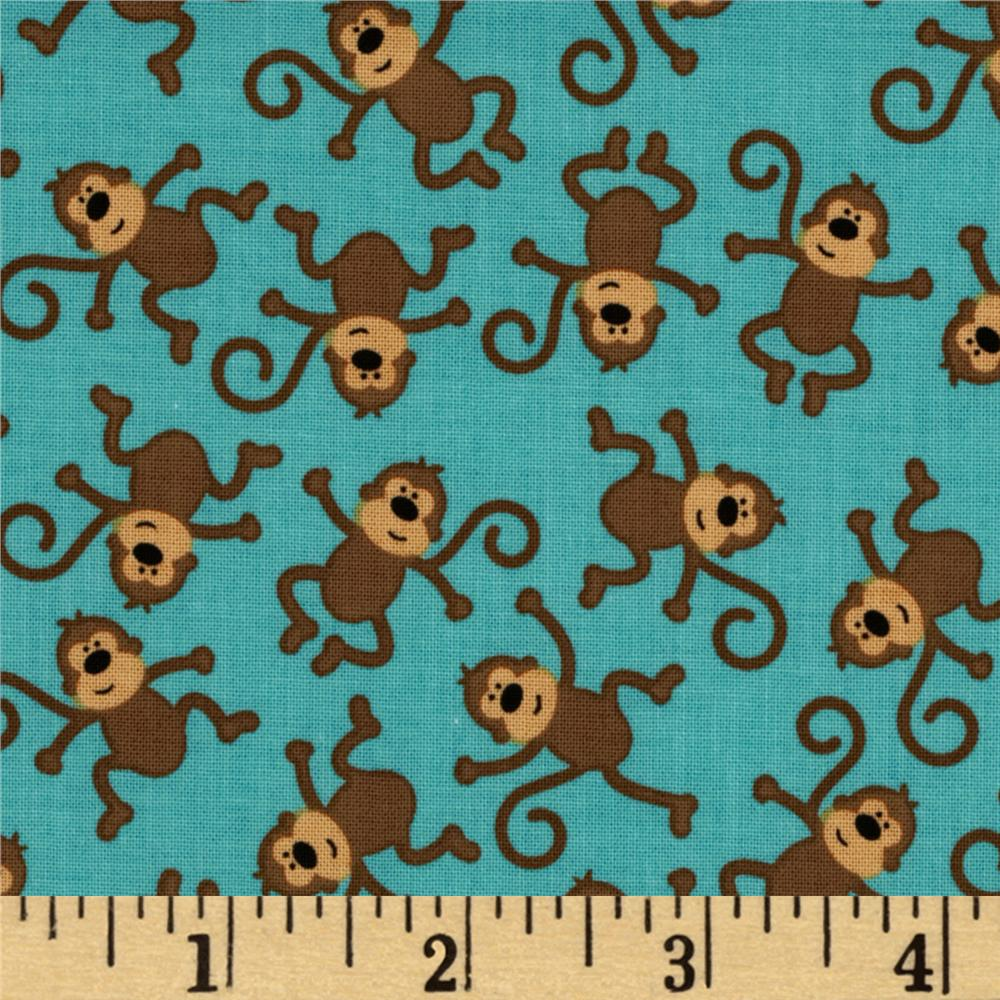 Riley Blake Zoofari Tossed Monkeys Blue