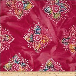 Indian Batiks Large Medallion Fuchsia