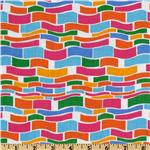Timeless Treasures Elephants on Parade Wave Stripe White