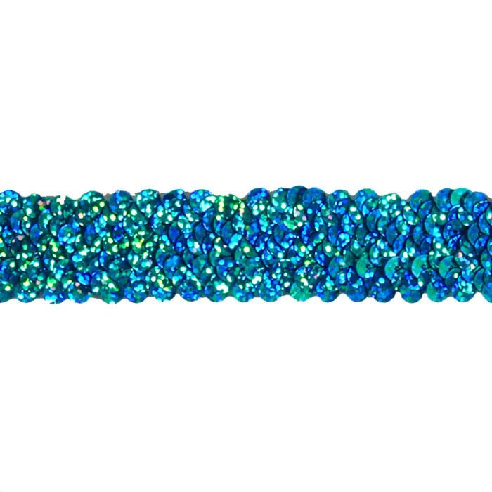 "1 1/4"" Stretch Starlight Sequin Trim Aqua"