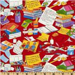 Moda Bear Country School Messy Desk Red