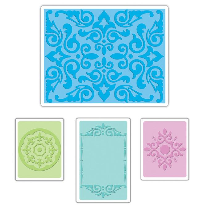 Sizzix Textured Impressions Embossing Folders 4 Pack-Medallions, Frame &amp; Damask