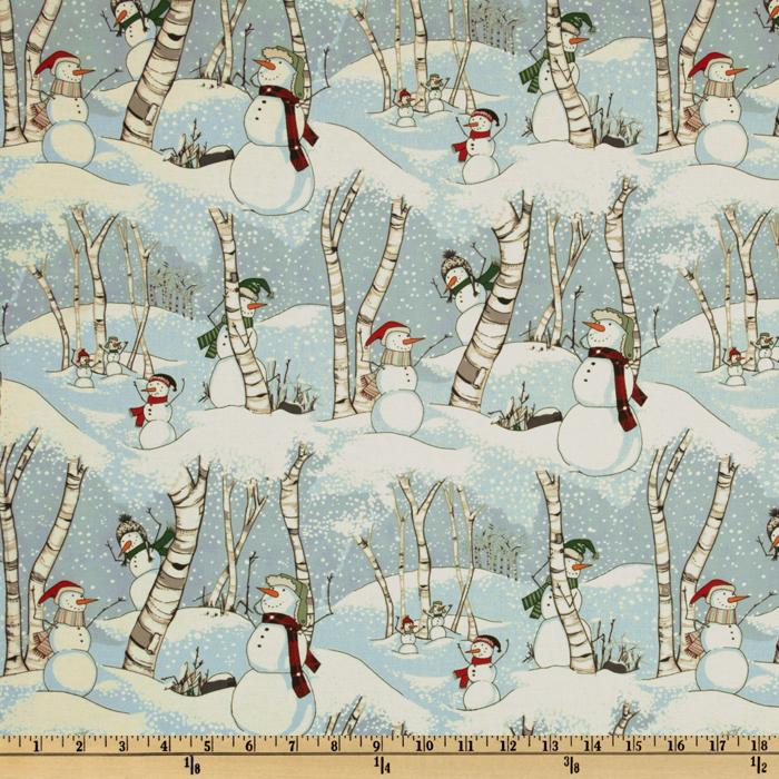 Snow Day Flannel Snowmen Blue