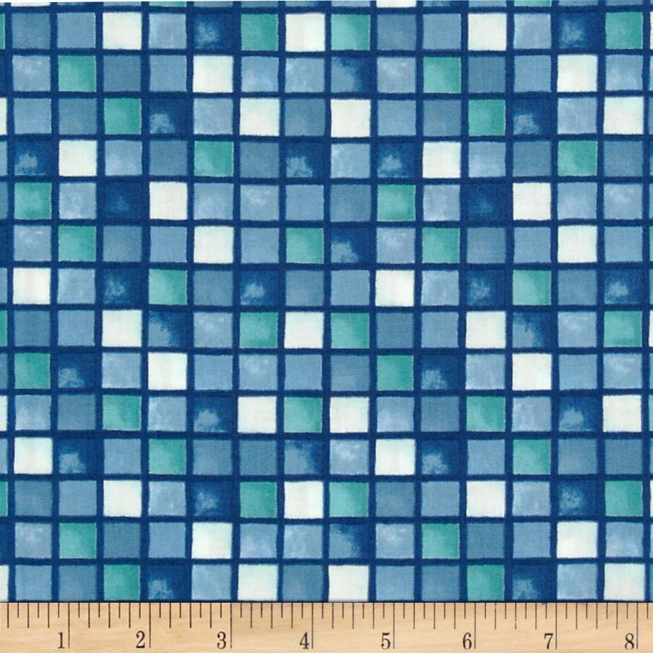 Moda Seascapes Sea Glass Mosaic Navy