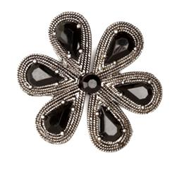Twilight Bloom Clasp 1 3/8''  Black Jet/Silver