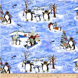 Winter Wonderland Metallic Scenic Penguins Blue