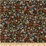 0292223 Rayon Challis Floral Brown/Grey/Sage/Black