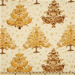 Hoffman Celebration Abstract Tree Metallic Cream