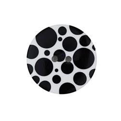 "Dill Novelty Button 3/8"" Black Dot on White"