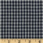 Designer Double Cloth Shirting Plaid Navy/Grey