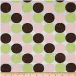 Minky Cuddle Polka Dots Pink/Brown/Sage